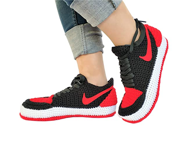 Amazon.com  Crochet Air Jordan 1 Retro Basketball Flyknit Sneaker Custom  Jumpman Knitting Slippers BRED TOE  Handmade a41d5159e