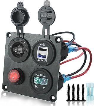 iztor DC 12-24V Green LED Digital Display Voltmeter Socket Universal for car RV Motorcycle Truck Boat Marine with connectors