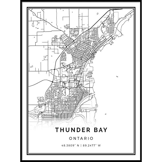 Amazon Com Squareious Thunder Bay Map Poster Print