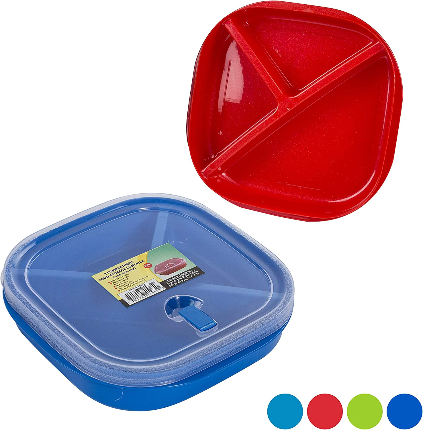 (Set of 3) Square Microwave Food Storage Tray Containers - 3 Section/Compartment Divided Plates w/Vented Lid - Assorted Colors