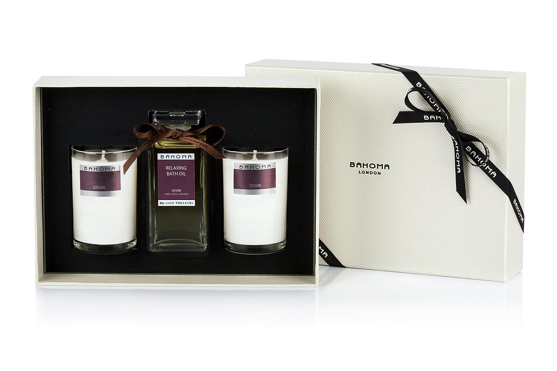 Bahoma Desire caja de regalo de lujo con un ml Aceite de Baño 100 en una botella de cristal Plus Dos Velas Tamaño Viaje Bahoma Ltd 307-RB-540-410-2-233