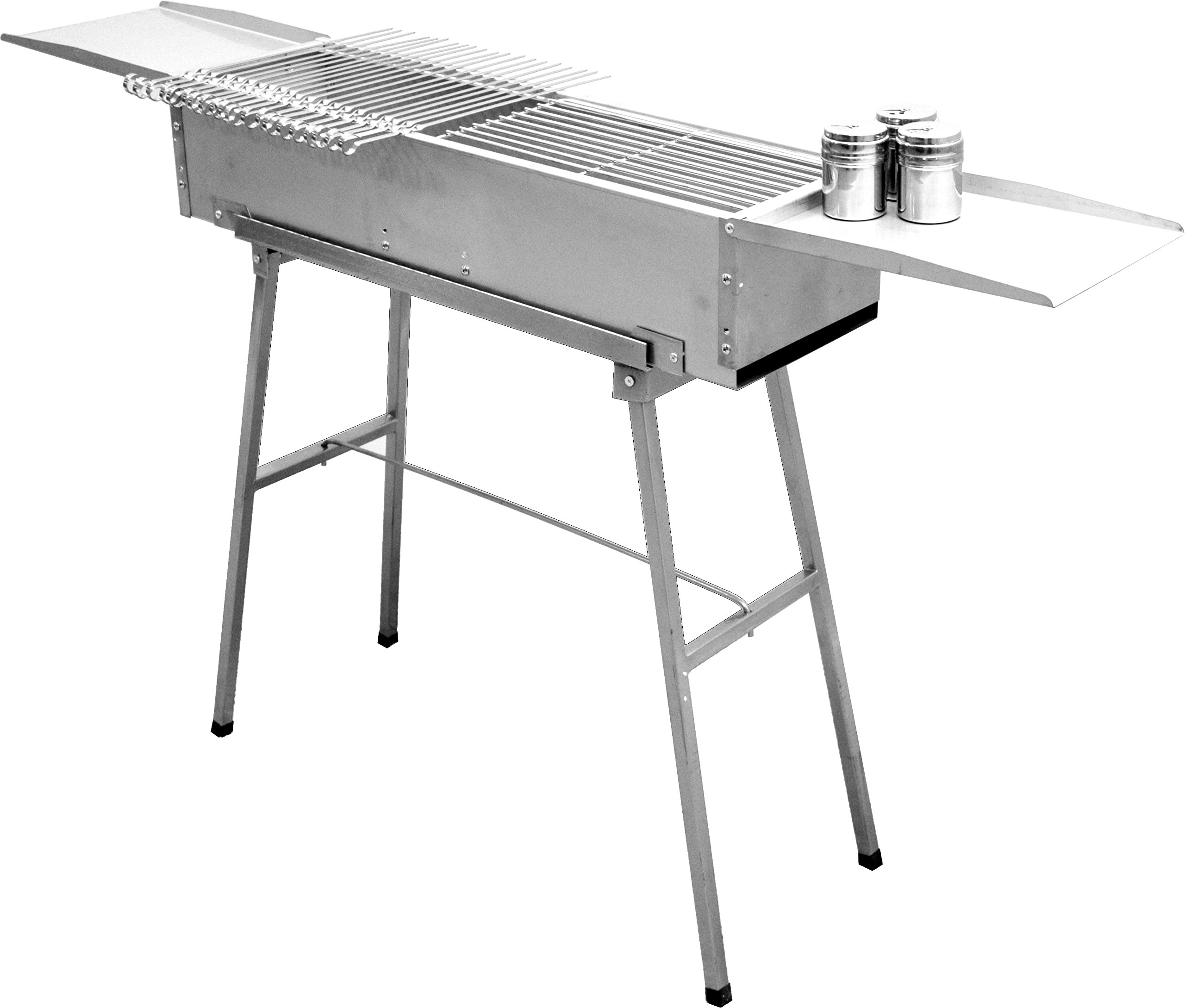 32'' deluxe stainless charcoal kebab grill – 9 inch wide with 20 stainless skewers