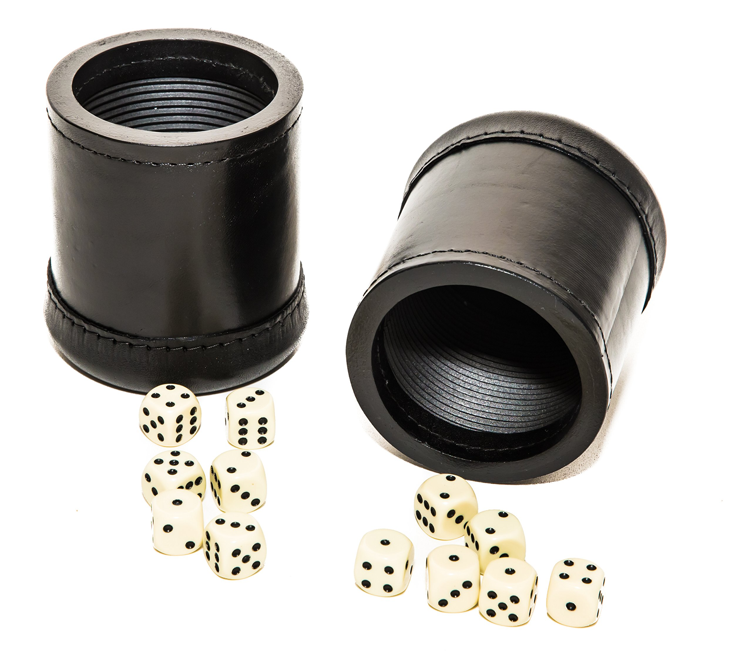 Two Bello Games Professional Genuine Leather Ribbed Dice Cups with 10 Dice