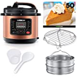 GoWISE USA 8-Quarts 12-in-1 Electric Pressure Cooker + 50 Recipes for your Pressure Cooker Book with Measuring Cup, Stainless Steel Rack and Basket, Spoon (Copper)