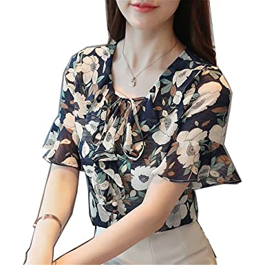 Li-Never Women Summer Chiffon Tops Printed Shirt Bow Flare Sleeve Blouse Ruffle Floral Blusas