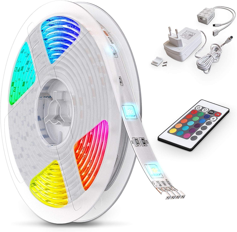20 Farben mit 44 Tasten IR-Fernbedienung,12V 5A Netzteil IP65 Wasserdicht f/ür Beleuchtung Deko,K/üche,Terrasse,Party Energieklasse A++ Redmoo led lichterkette RGB 150LED SMD5050 LED Streifen 5M