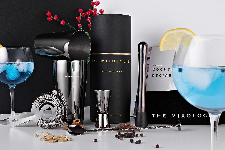 Marca del Reino Unido Juego de cocteler/ía Boston con elegante caja de regalo The MixologistTM libro de recetas Bartender Tools Bolsa de almacenamiento Gunmetal Edition