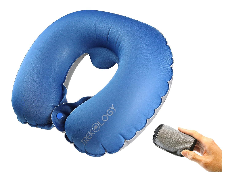 appui-t/ête en forme de U pour un repos et un sommeil optimal en voyage. Trekology Coussin gonflable pour avion,coussins de voyage-coussins compacts et portables pour la t/ête et le cou pendant le vol