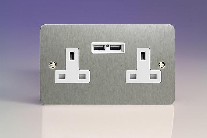 Varilight 2 Gang 13a Unswitched Plug Socket 2 5v Dc 2100ma Usb