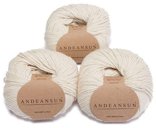 100% Baby Alpaca Yarn Skeins - Set of 3 Ivory - AndeanSun - Luxuriously Soft for Knitting, Crocheting - Great for Baby Garments, Scarves, Hats, and Craft