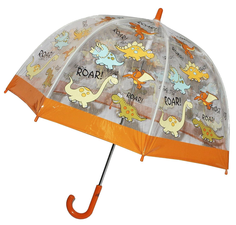 Regenschirm Dino / Dinosaurier - Kinderschirm incl. Namen - transparent Ø 70 cm - Kinder Stockschirm - für Jungen Schirm Kinderregenschirm / Glockenschirm T-Rex Dinos durchsichtig & durchscheinend Kinder-land