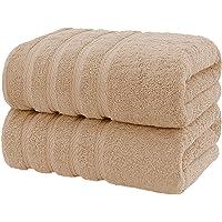 CASA COPENHAGEN Bella Egipcio algodón 600 g/m², Toallas de baños (Beige) 2 Piezas