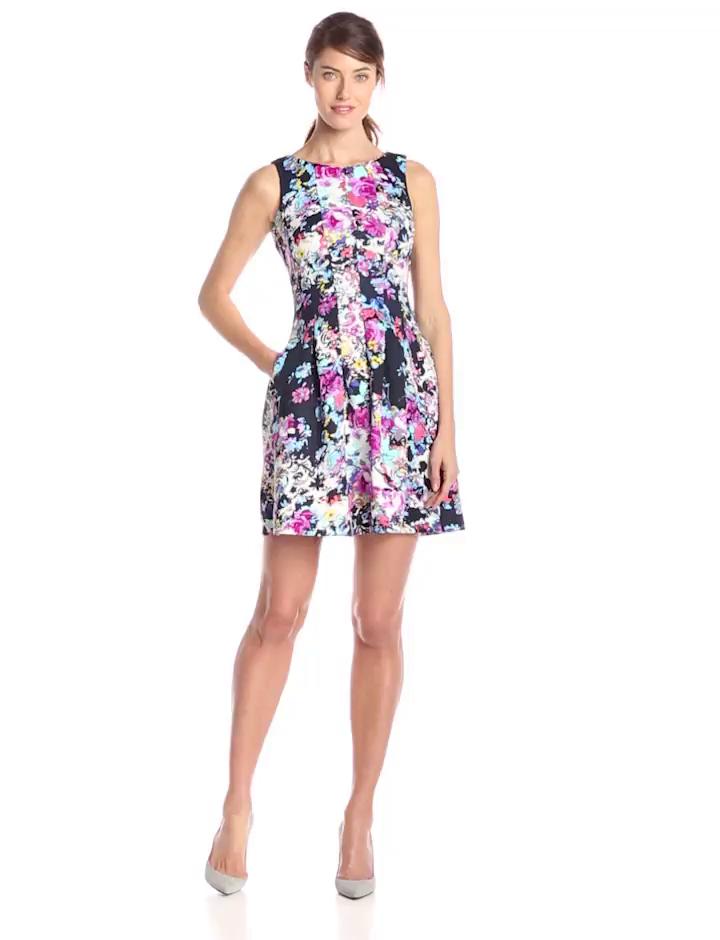 Gabby Skye Women's Sleeveless Printed Fit and Flare Dress, Navy Multi, 14