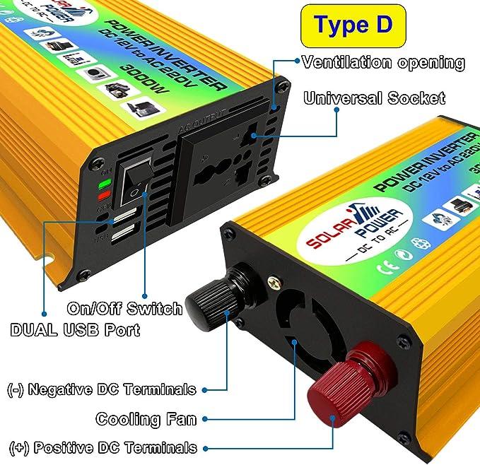 Suitable for Outdoor Use DC 12V // 24V to AC 110V // 220V Modified Sine Wave Inverter with AC Socket USB Port Solar Voltage Converter Size : 24V-110V XIAORAN Power Inverter Peak Power 4000W