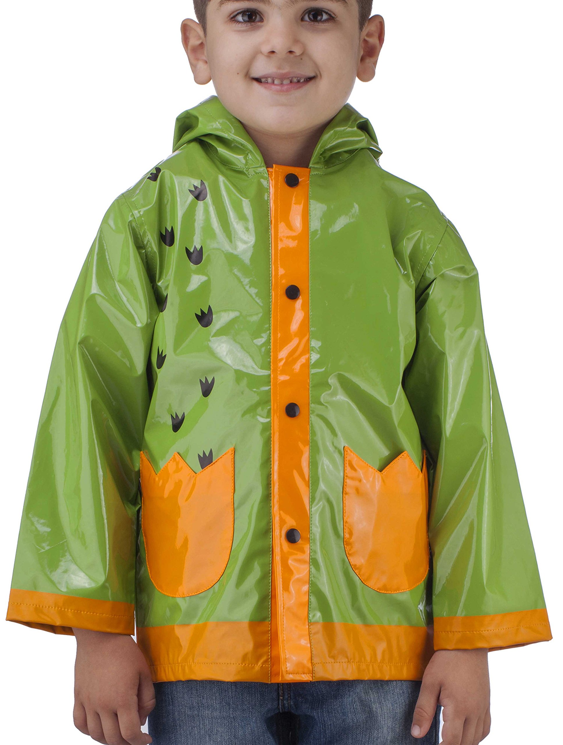 Little Boy's Dinosaurs Green Raincoat - Size 7