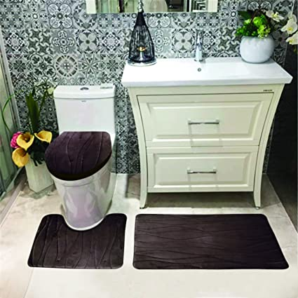 Superb Luxury Home Collection 3 Pc Bath Rug Set Memory Foam Non Slip Bathroom Rug Contour Mat And Toilet Lid Cover Solid New Brown Choclate Andrewgaddart Wooden Chair Designs For Living Room Andrewgaddartcom