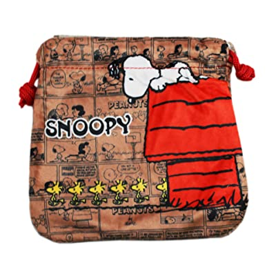 Brown Peanuts Snoopy Comic Strip Drawstring Marbles Travel Bag Pouch hot sale