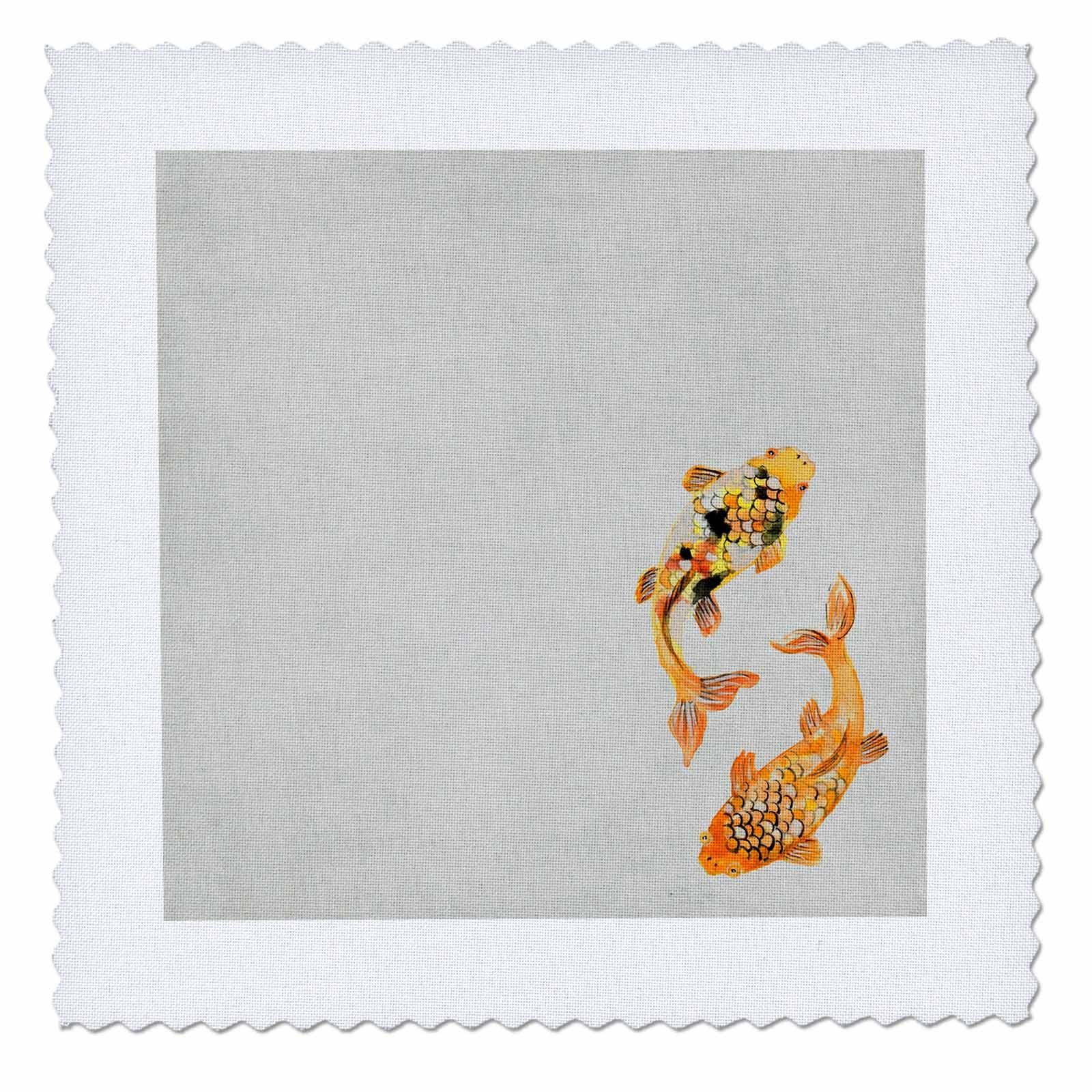 3dRose Sven Herkenrath Animal - Asia Koi Fish Fishes in Vintage and Retro Look - 20x20 inch quilt square (qs_280241_8)