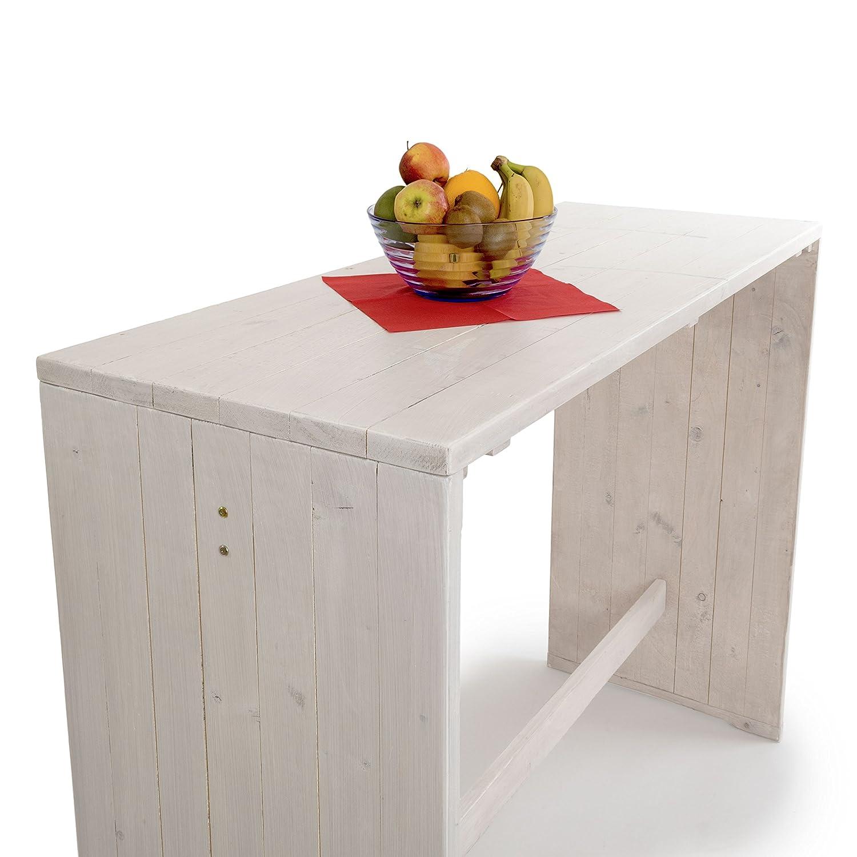 Shabby Chic Bianco Ampel 24 110 cm e 75 cm Larice Siberiano Resistente alle intemperie Alto ca Set Vintage Oslo con Tavolo Alto e 4 sgabelli