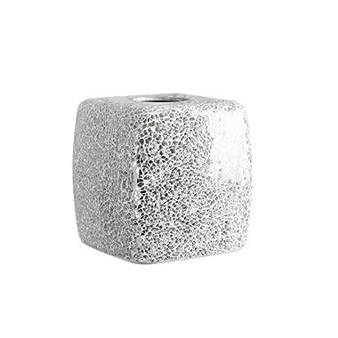 Whole Housewares Mosaic Glass Tissue Holder Decorative Tissue Cover Square Box (Silver)
