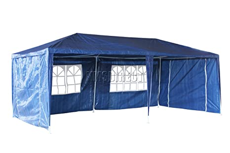 FoxHunter Waterproof 3m x 9m PE Gazebo Marquee Awning Party Tent Canopy Blue 120g Polyester Power Coated Steel Frame With 3 Support Beam
