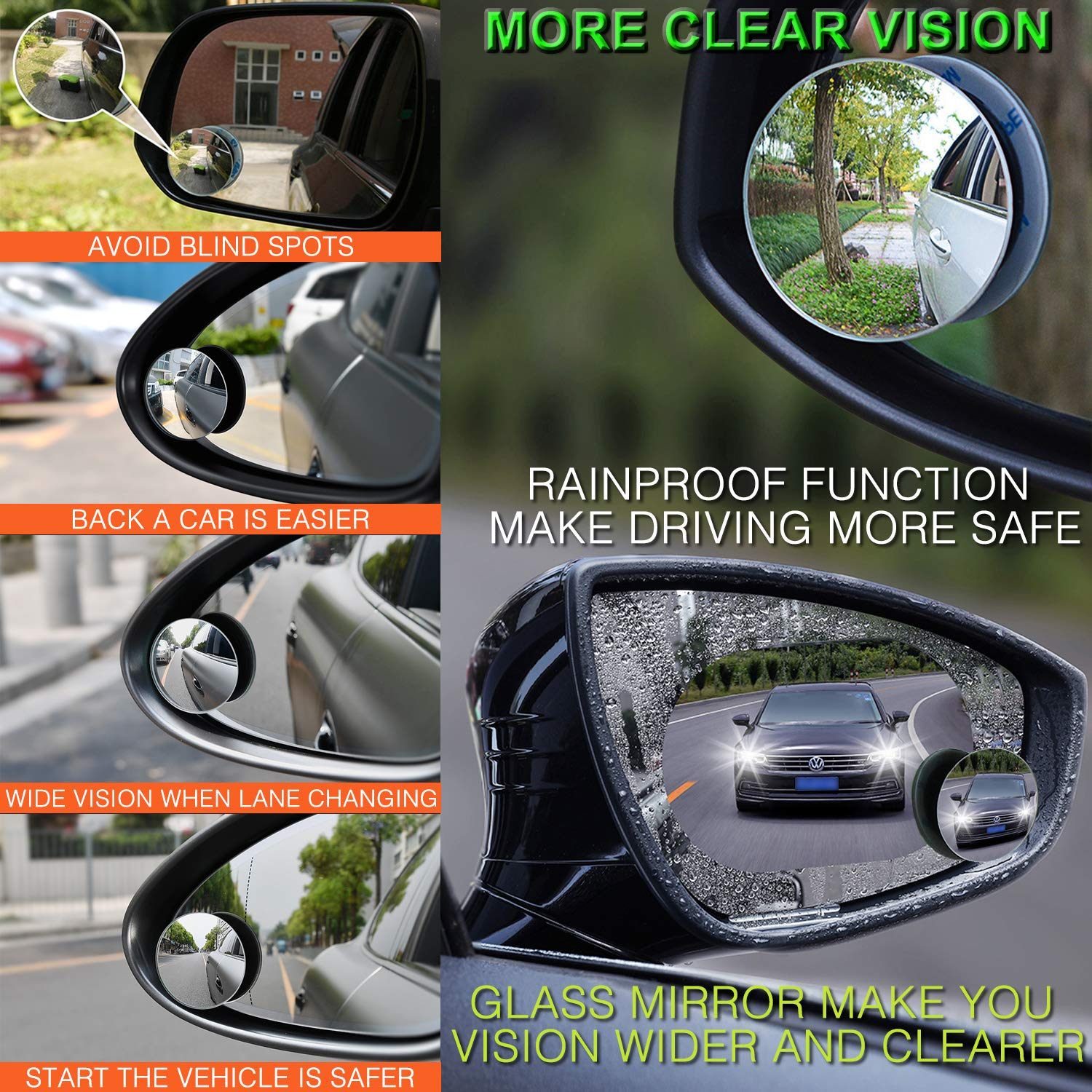 Universal Rear View Interior Car Mirror Adjustable Suction Cup Wide Safety Lefan