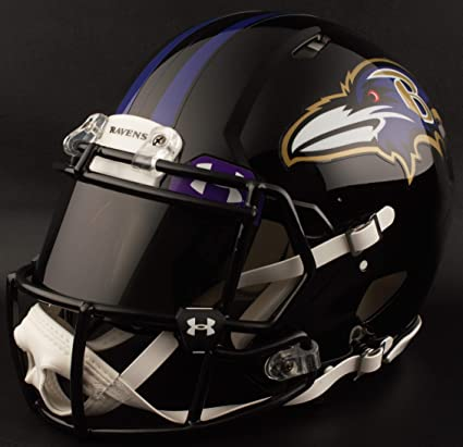 6468a75fc70 Image Unavailable. Image not available for. Color  Riddell Custom Baltimore  Ravens Full Size NFL Speed Football Helmet