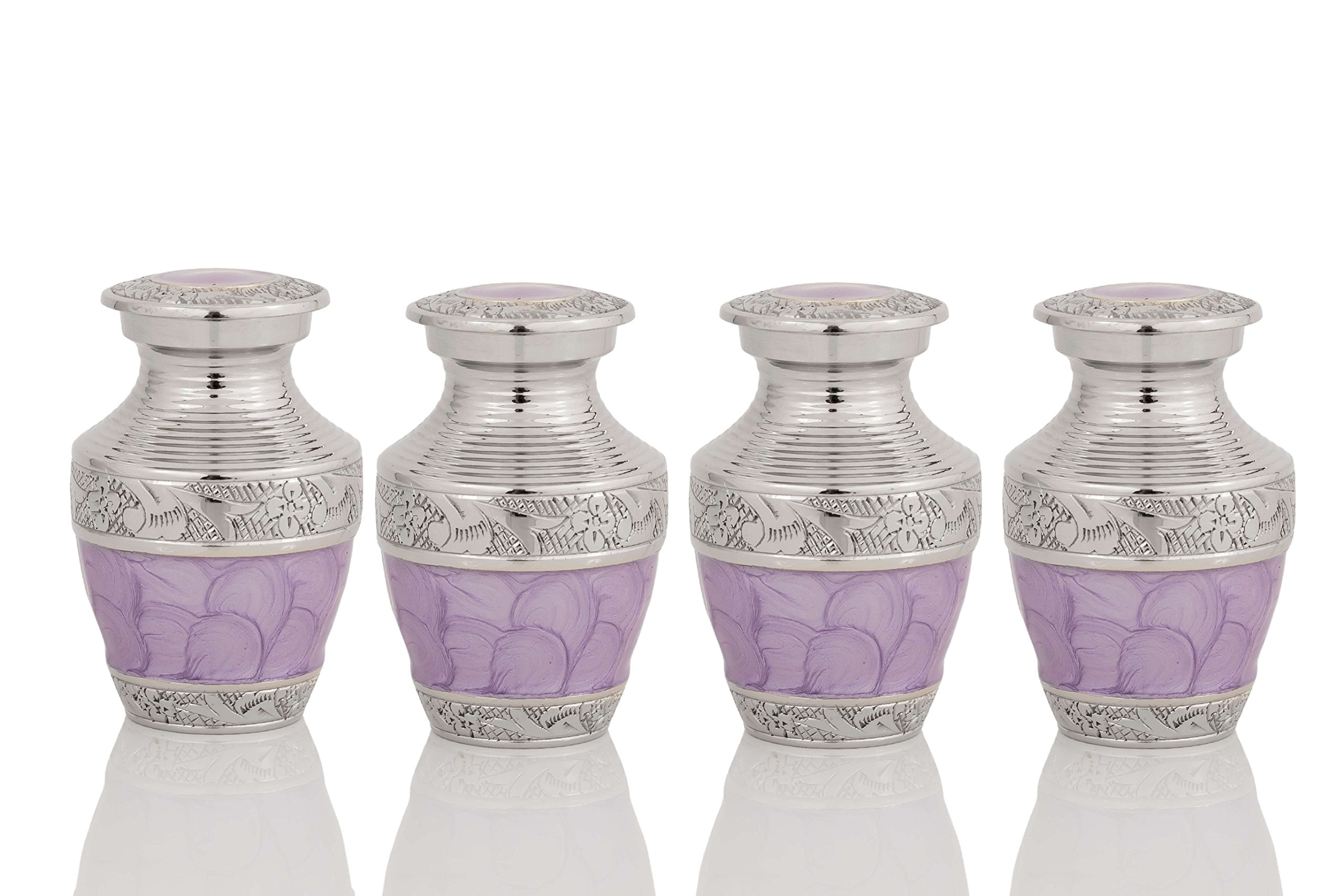 Enshrined Memorials Cremation Urn for Ashes - Artemis Series Affordable Solid Brass Metal Quality Handcrafted for Human Funeral Burial Small Mini Keepsake Set of 4, Purple Lavender