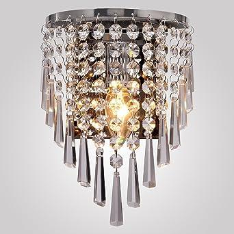 Éclairage Chambre Moderne Créatif Louvra Chrome Salle Intérieure Manger Lumiaire Mur À Cristal Pour E14 Décorative Murale Applique Lampe Salon 76gbYfy