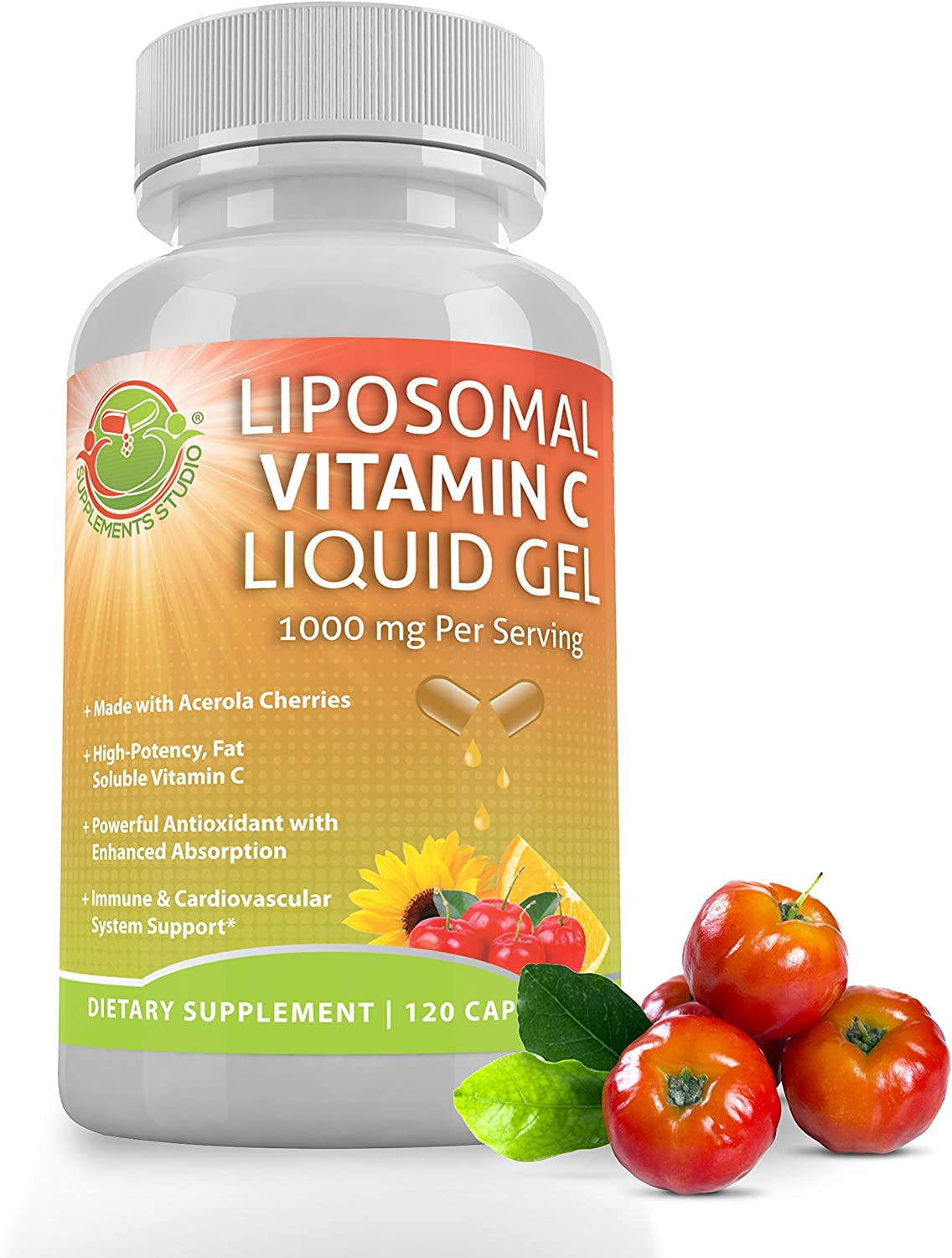 LIPOSOMAL Vitamin C Liquid Gel Organic Acerola Cherries & Sunflower Lecithin, Enhanced Absorption & Bioavailability, High Potency 1000 mg, 2 Month Supply, 120 DRcaps, Gluten Free, Non-GMO, China-Free
