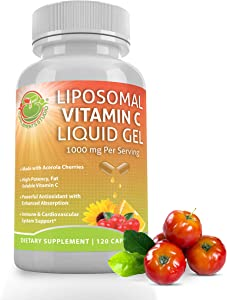LIPOSOMAL Vitamin C Liquid Gel Organic Acerola Cherries & Sunflower Lecithin, Enhanced Absorption & Bioavailability, High Potency 1000 mg, 2 Month Supply, 120 DRcaps, Gluten Free, Non-GMO, China-Free