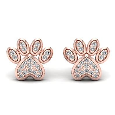 af0635e26 Amazon.com: 10K Rose Gold 1/10ct TDW Diamond Dog Paw Print Earrings ...