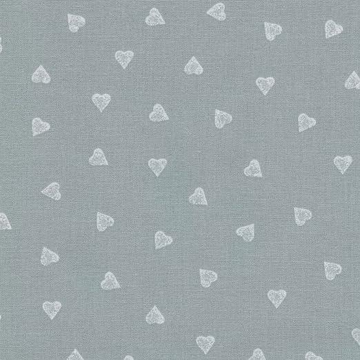 Tela gris medio y blanco - Corazones - 100% algodón suave | ancho ...