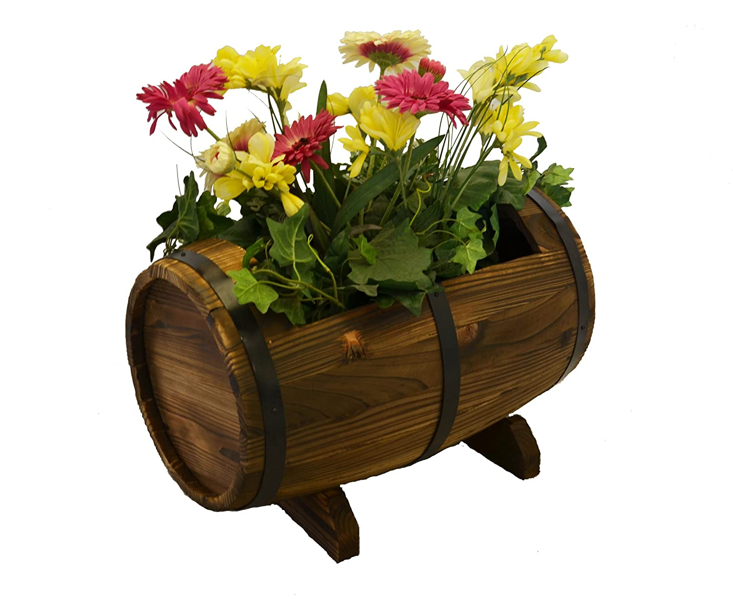 Amazon.com : Wooden Whiskey Barrel Flower Planter Product SKU ...