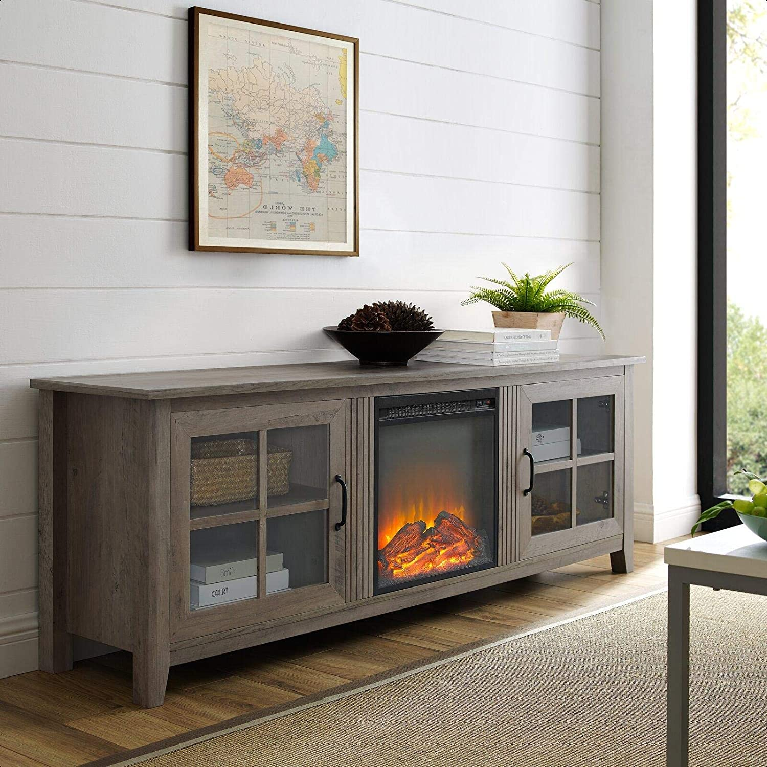 Tv Stand For Tvs Up To 78 With Electric Fireplace Included Home Audio Theater