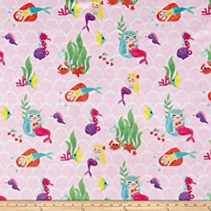 Michael Miller Minky Mermaids Pink Fabric by The Yard