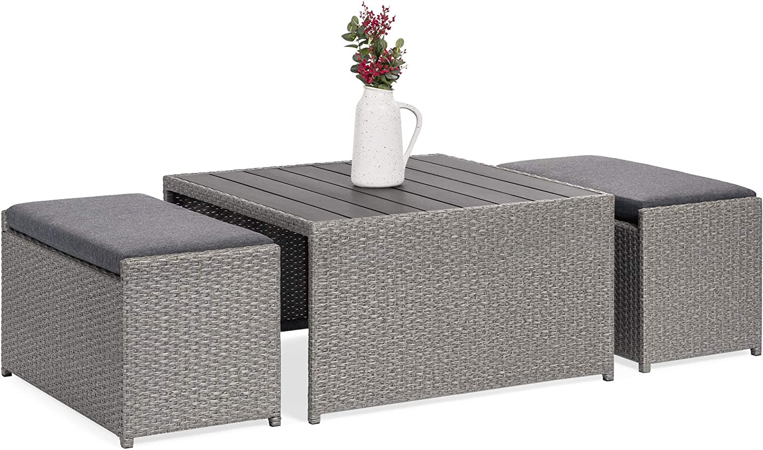 Best Choice Products 3-Piece Outdoor Modern Wicker Coffee Table Set for Patio, Porch w 2 Ottoman Benches – Gray