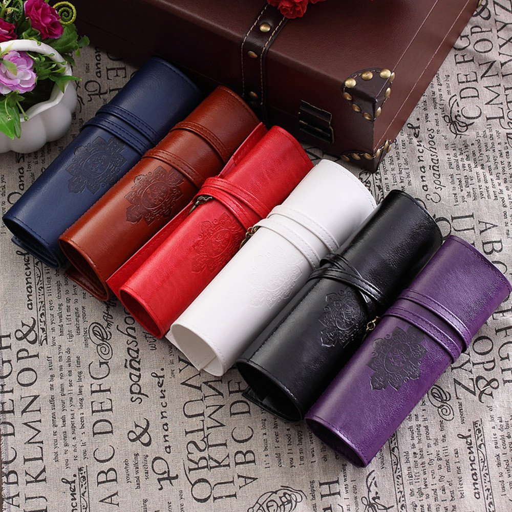 Retro Wrap Roll Up Pen Bag Leather Pencil Case with Adjust Strap Storage Pouch Organizer Make Up Cosmetic Purse Bag for School Office Travel (Red)