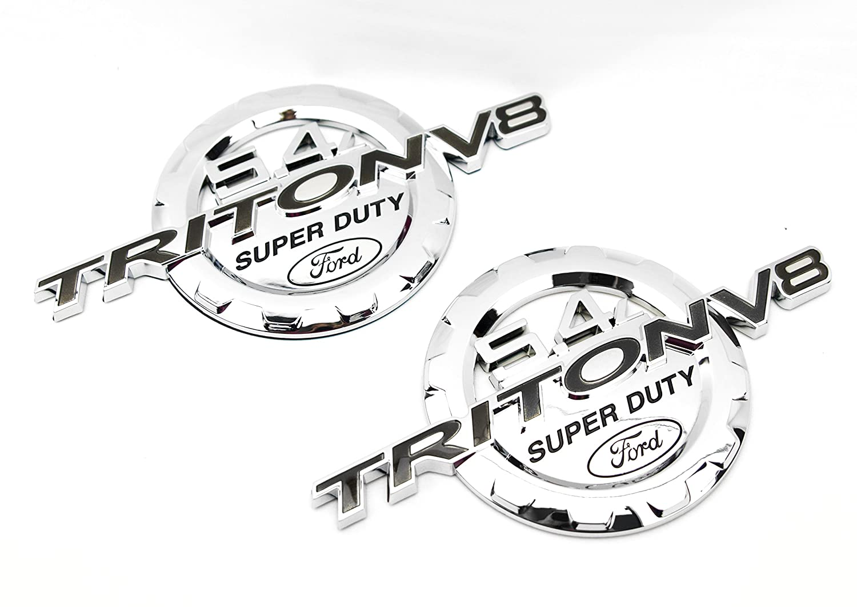 2 NEW CUSTOM CHROME FORD 5 4L TRITON V8 SUPER DUTY F250 F350 BADGES EMBLEMS  SET PAIR