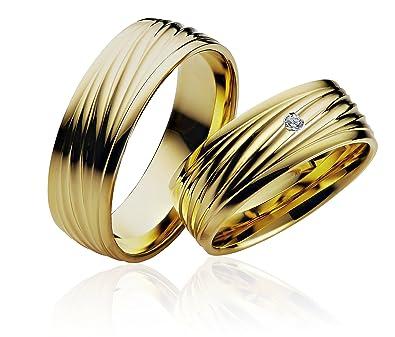 2 x alianzas alianzas de anillos de compromiso Amistad Anillo de oro 585 * con grabado, funda y 1 piedra *: Amazon.es: Joyería