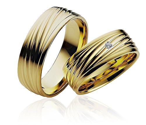 2 x alianzas alianzas de anillos de compromiso Amistad Anillo de oro 585 * con grabado