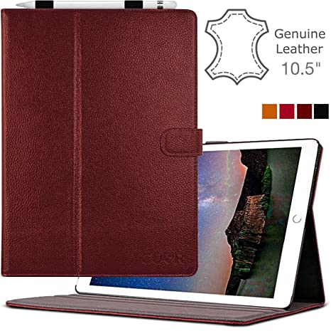 timeless design 398e3 78337 CUVR PREVENT PROTECT iPad Pro 10.5 Case with Pencil Holder - Leather Folio  Cover Stand (2017, Oxblood)