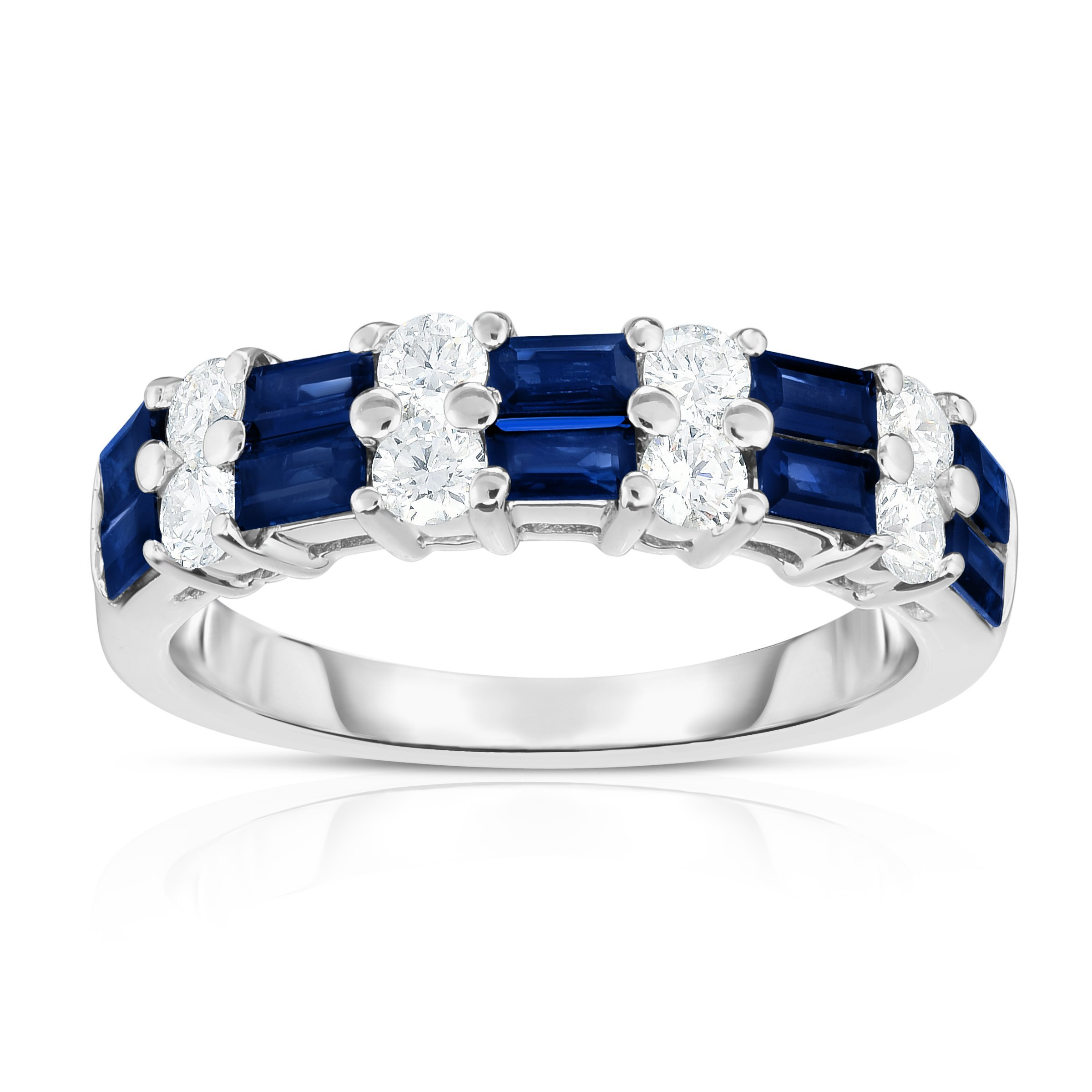 Noray Designs 14K White Gold Blue Sapphire & Diamond (0.50 Ct, G-H Color, SI2-I1 Clarity) Ring