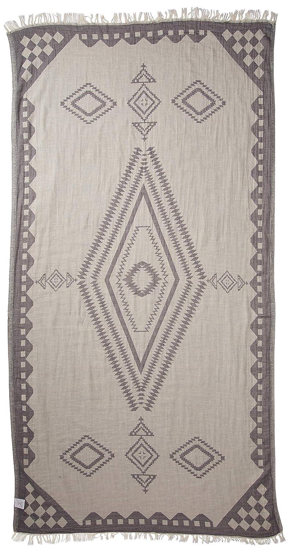 Asciugamano Turco Bahamas 95 x 175 cm Fouta Telo Mare e Bagno Bersuse 100/% Cotone Blu Scuro Doppio Strato con Design Azteco