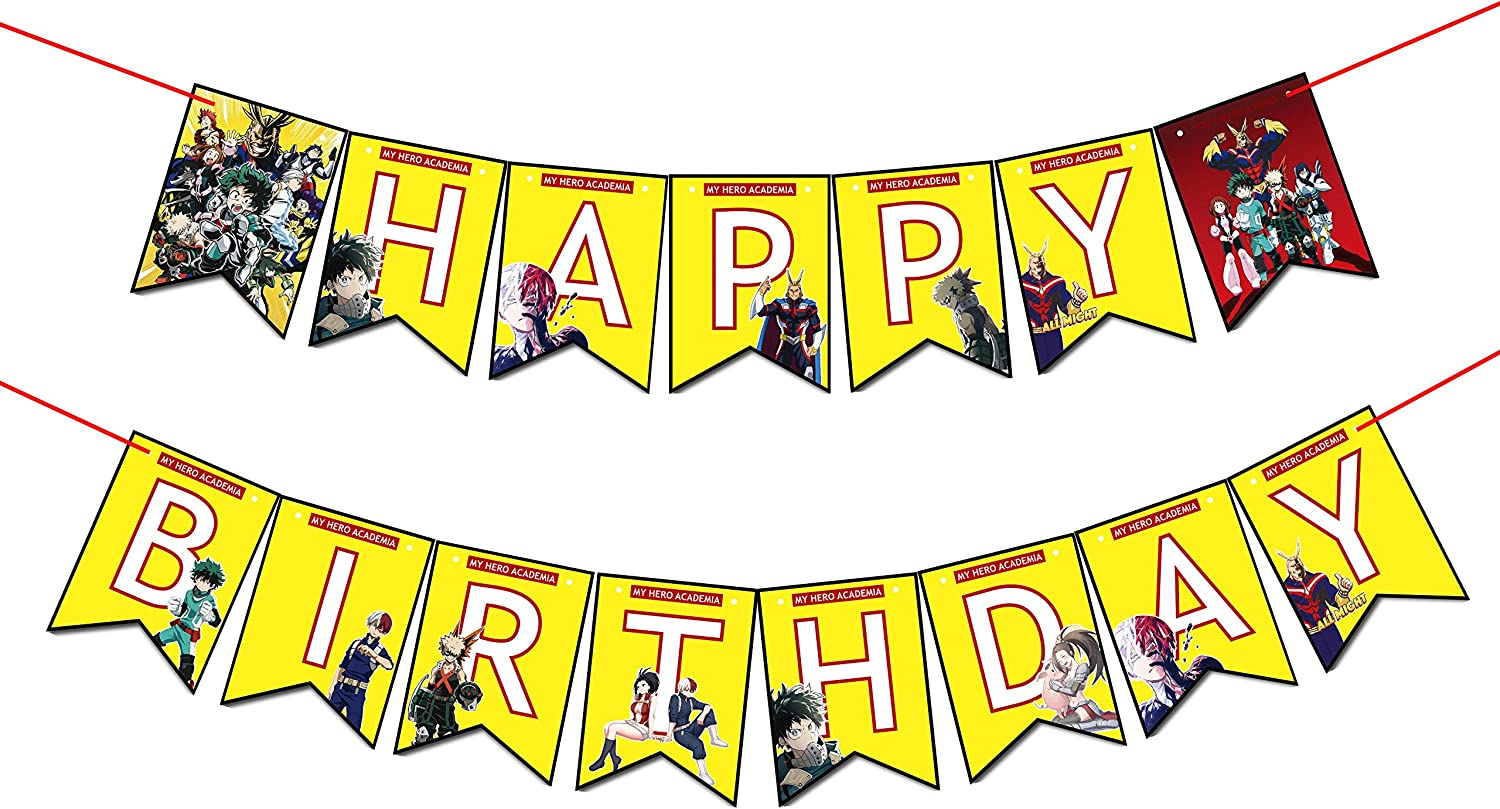 My Hero Academia Happy Birthday Banner Perfect for TV Animation Lovers Party Decorations.My Hero Academia Themed Birthday Banner Is Exciting as A Birthday Item.