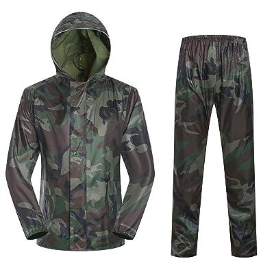 Imperméable à l'eau portatif extérieur camouflage mince adulte camouflage numérique split imperméable pluie pantalons costume , big camouflage suit , l