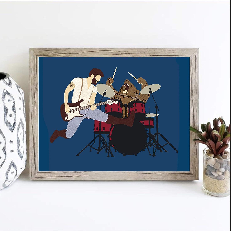 Sharp Shirter Funny Bear Poster for Guys Cool Meme Print for Bedroom Wall Blue Mancave Decor Music Artwork Rockstars (8x10)