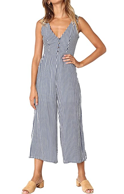 Vintage High Waisted Trousers, Sailor Pants, Jeans Dearlovers Women Sleeveless V Neck Polka Dots Striped Romper Jumpsuit With Pocket $23.99 AT vintagedancer.com