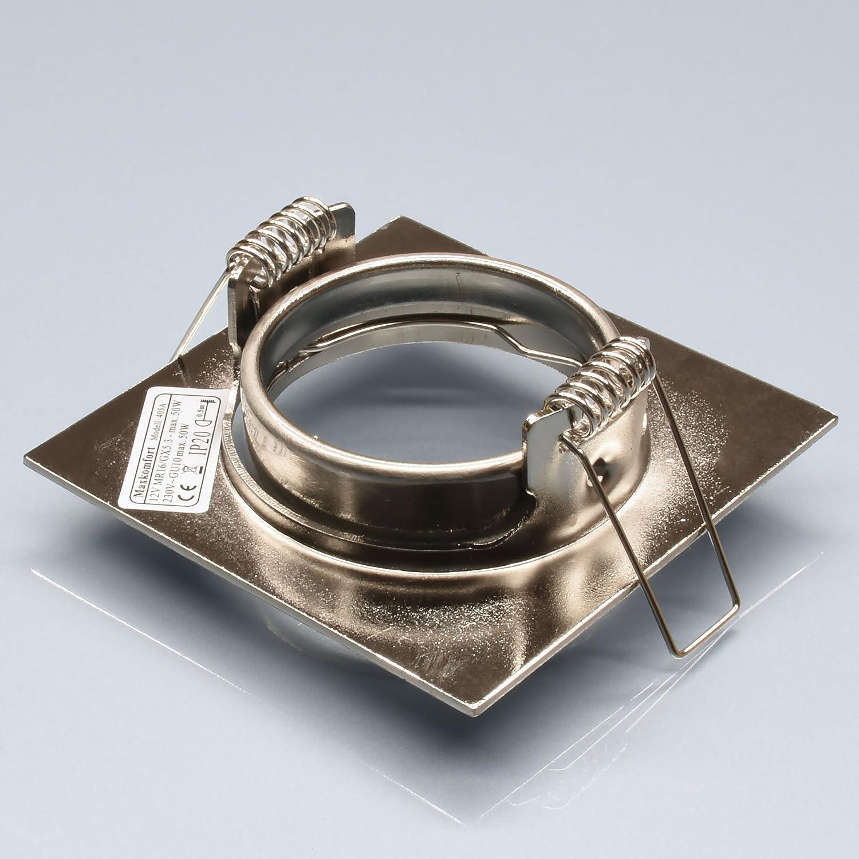 6x Einbaustrahler Einbauleuchte Einbaurahmen Schwenkbar Chrom Eckig inkl GU10-Fassung 405