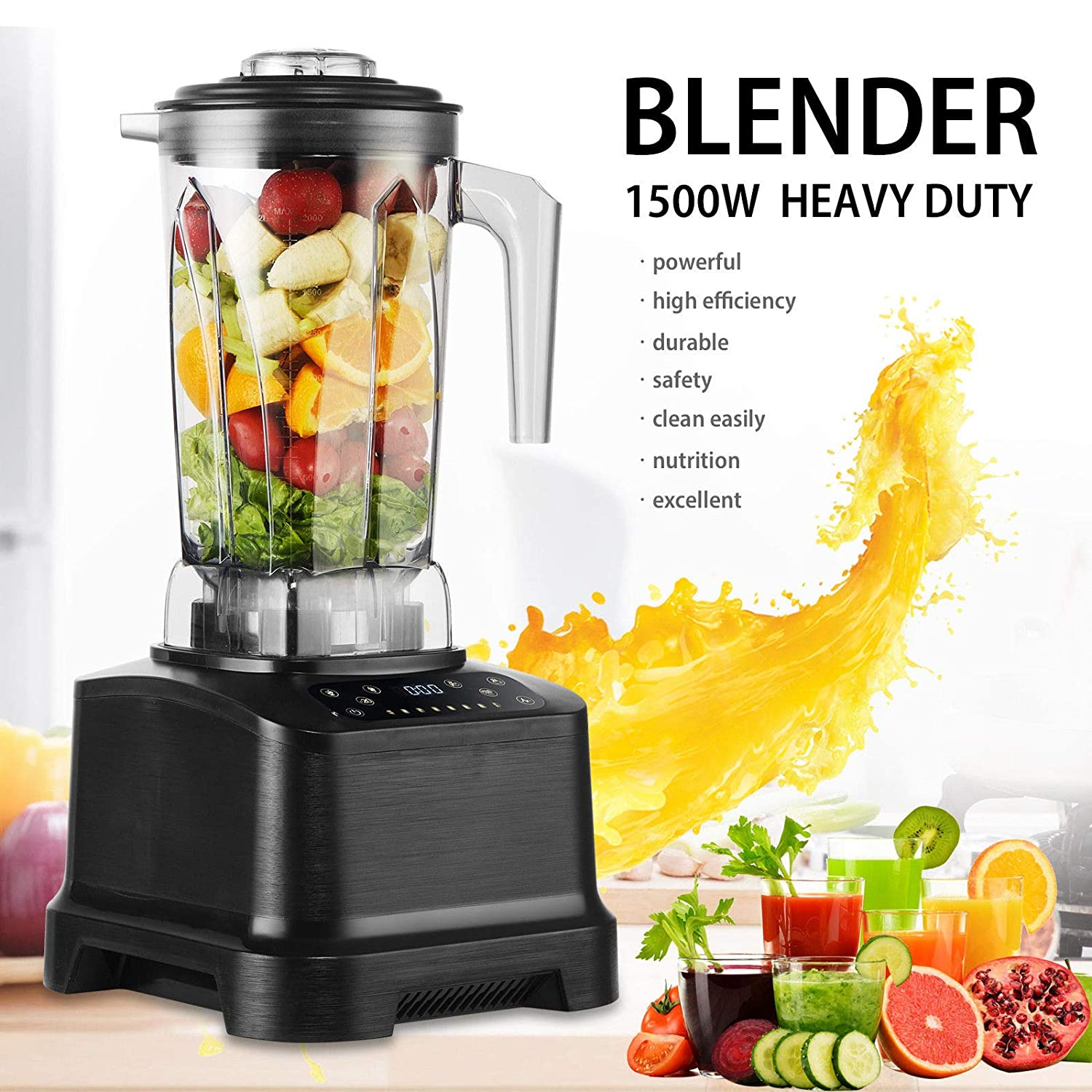 Commercial 1500W Power High-Speed Blender Mixer Juicer Food Smoothies